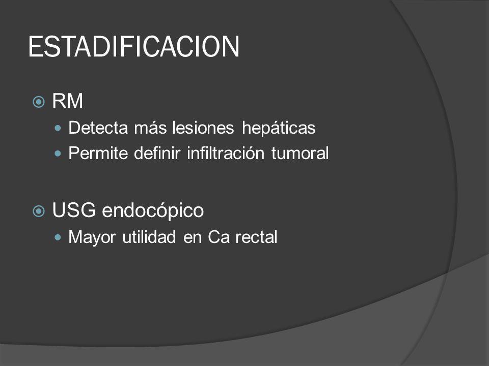 ESTADIFICACION RM USG endocópico Detecta más lesiones hepáticas