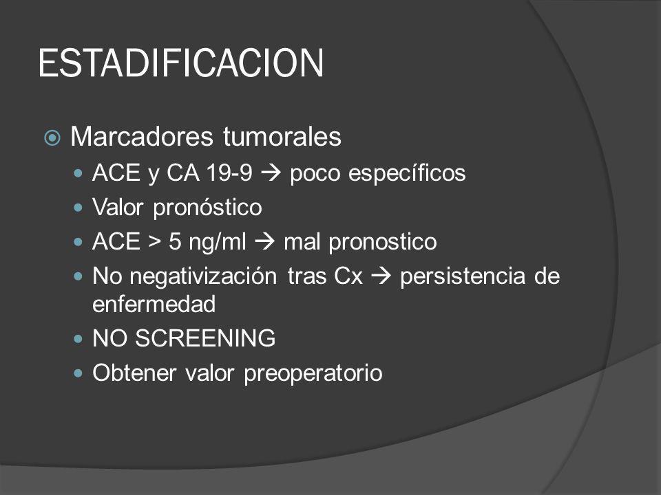 ESTADIFICACION Marcadores tumorales ACE y CA 19-9  poco específicos