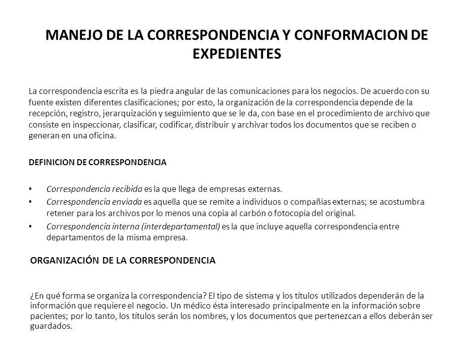 MANEJO DE LA CORRESPONDENCIA Y CONFORMACION DE EXPEDIENTES