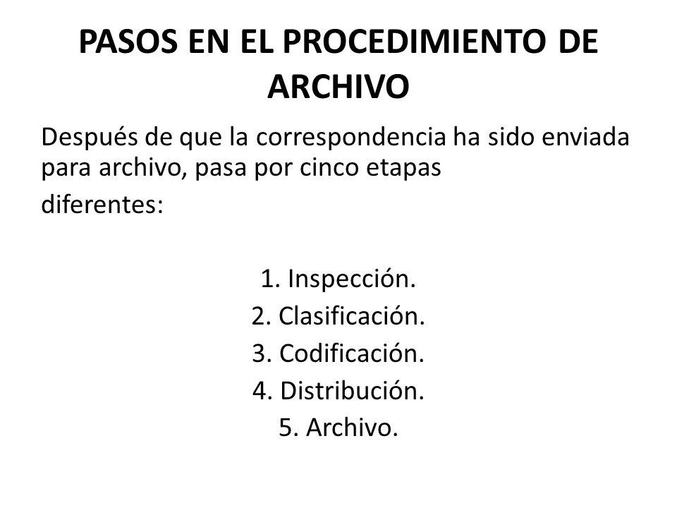 PASOS EN EL PROCEDIMIENTO DE ARCHIVO