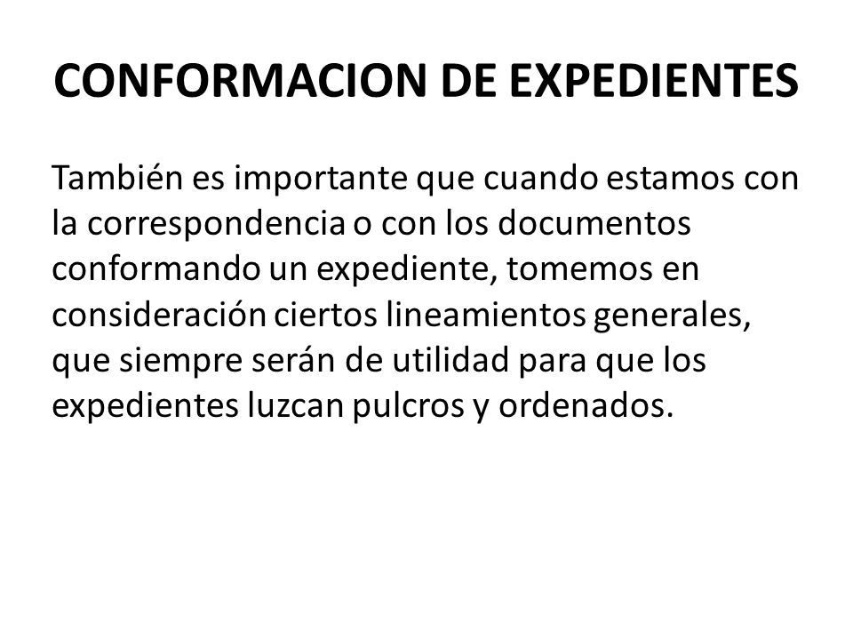 CONFORMACION DE EXPEDIENTES