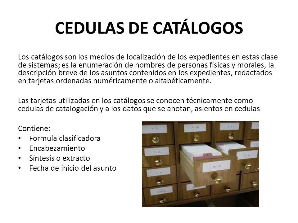CEDULAS DE CATÁLOGOS