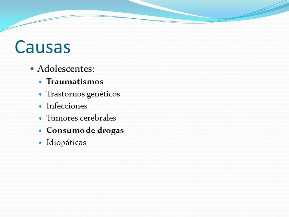 Causas Adolescentes: Traumatismos Trastornos genéticos Infecciones