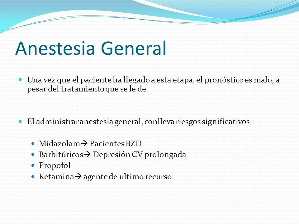 Anestesia General Una vez que el paciente ha llegado a esta etapa, el pronóstico es malo, a pesar del tratamiento que se le de.