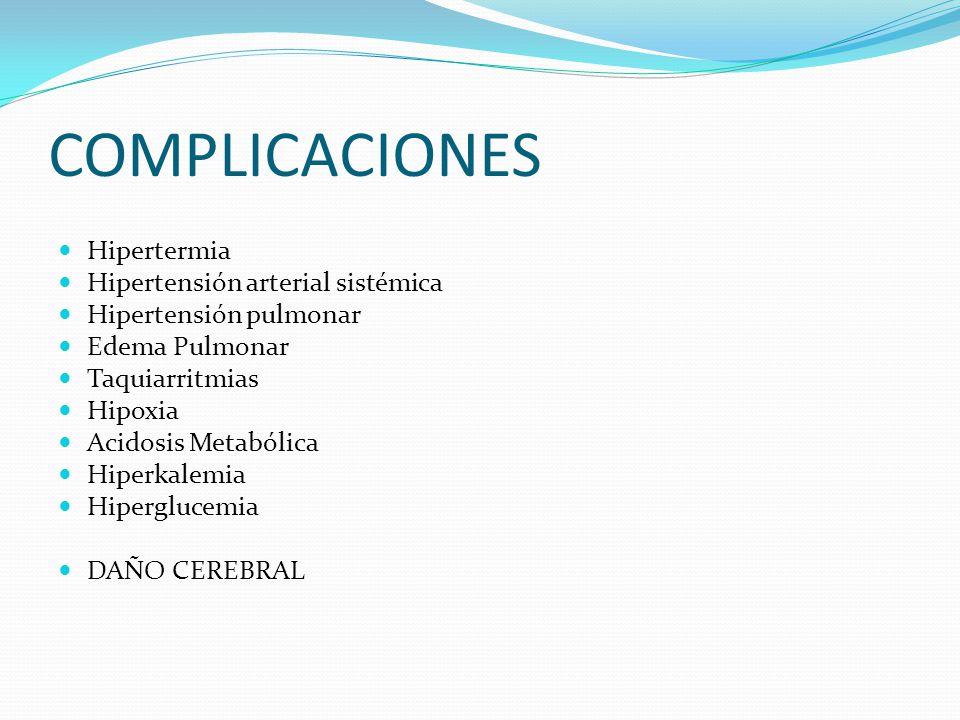 COMPLICACIONES Hipertermia Hipertensión arterial sistémica