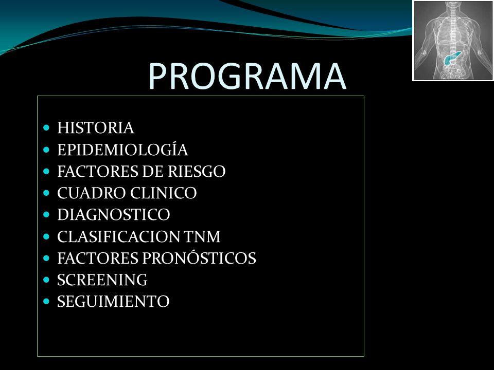 PROGRAMA HISTORIA EPIDEMIOLOGÍA FACTORES DE RIESGO CUADRO CLINICO