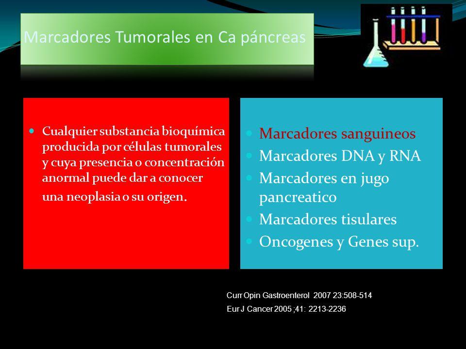 Marcadores Tumorales en Ca páncreas