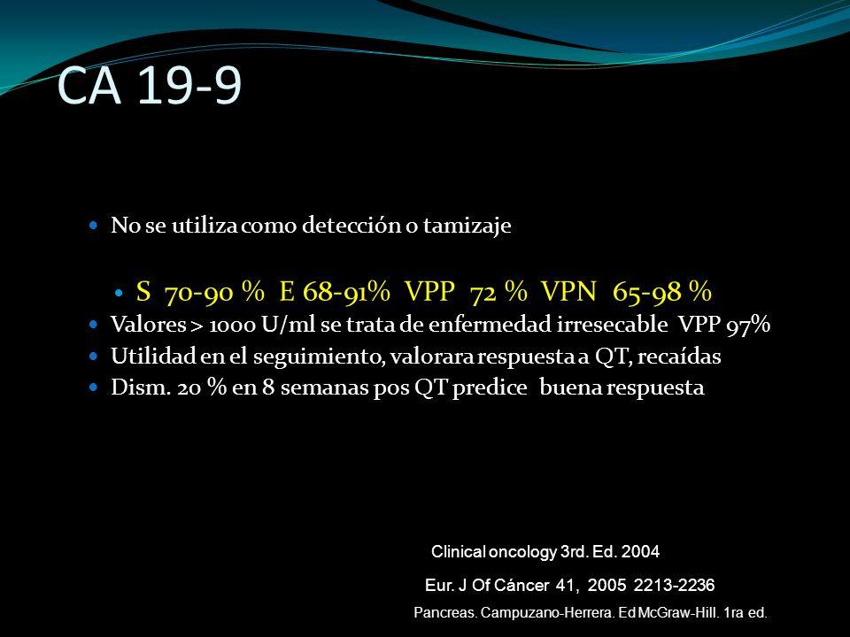 CA 19-9 No se utiliza como detección o tamizaje. S 70-90 % E 68-91% VPP 72 % VPN 65-98 %
