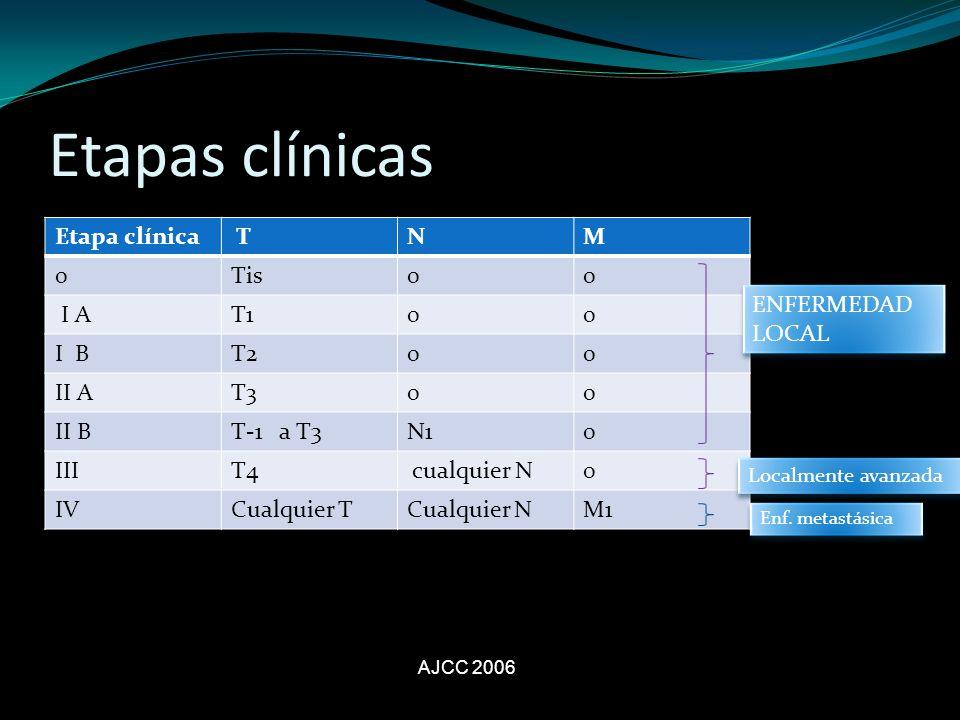 Etapas clínicas Etapa clínica T N M Tis I A T1 I B T2 II A T3 II B