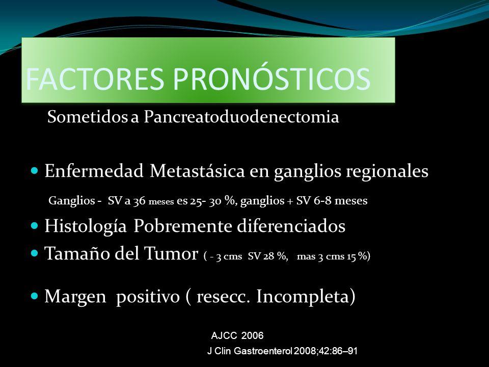FACTORES PRONÓSTICOS Enfermedad Metastásica en ganglios regionales