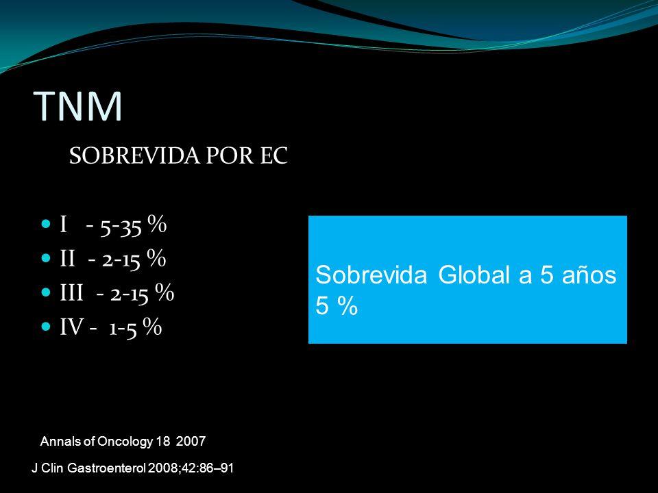 TNM Sobrevida Global a 5 años 5 % SOBREVIDA POR EC I - 5-35 %