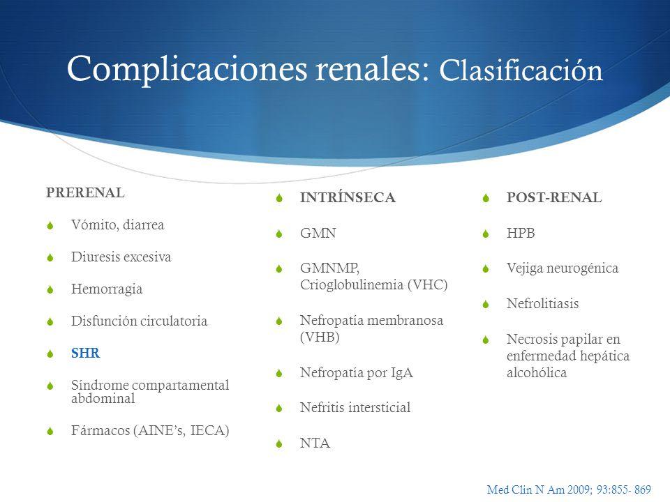 Complicaciones renales: Clasificación