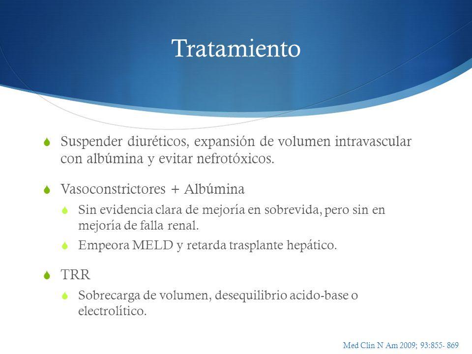 Tratamiento Suspender diuréticos, expansión de volumen intravascular con albúmina y evitar nefrotóxicos.