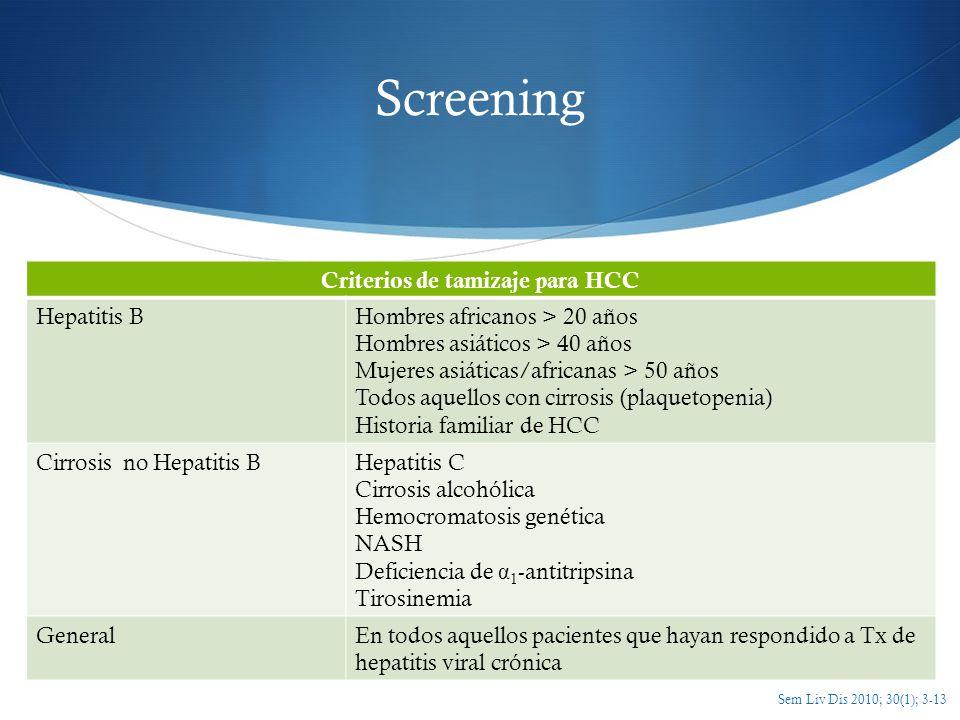 Criterios de tamizaje para HCC