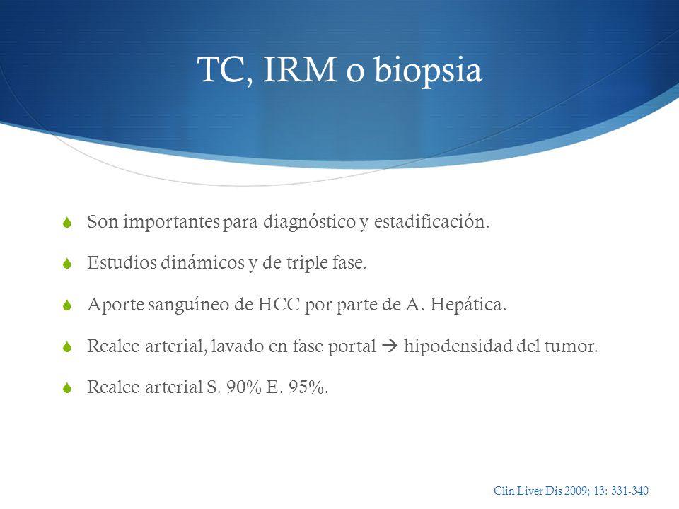 TC, IRM o biopsia Son importantes para diagnóstico y estadificación.