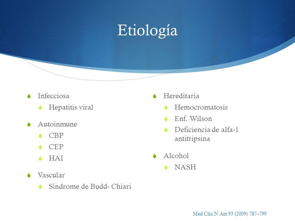 Etiología Infecciosa Hepatitis viral Autoinmune CBP CEP HAI Vascular