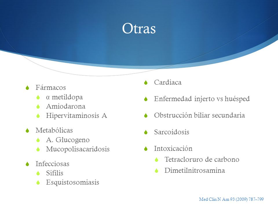 Otras Cardiaca Enfermedad injerto vs huésped Fármacos α metildopa