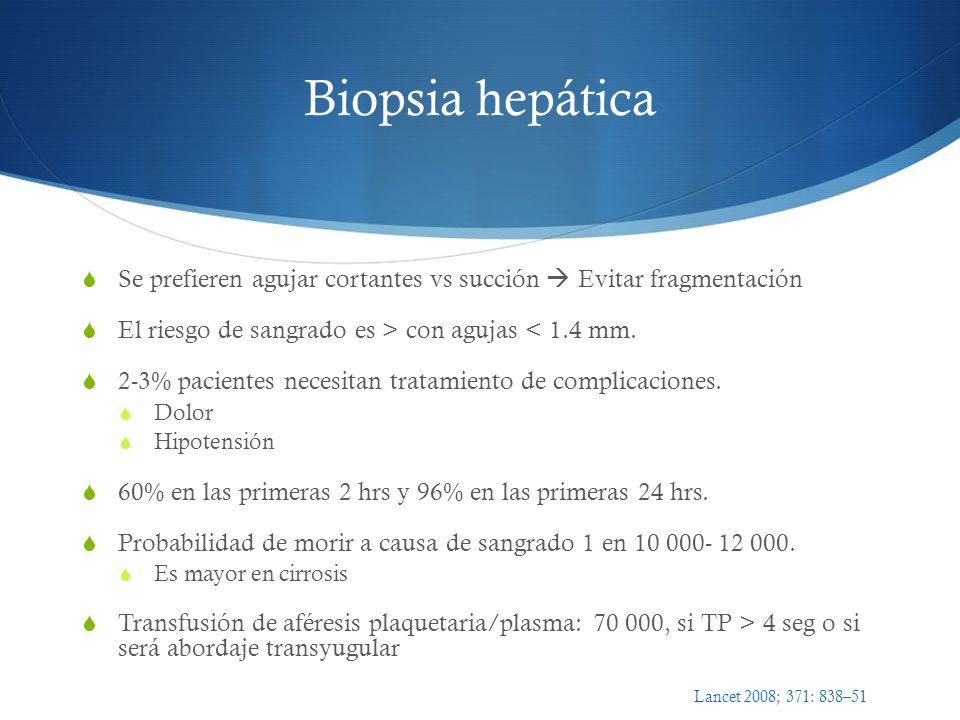 Biopsia hepática Se prefieren agujar cortantes vs succión  Evitar fragmentación. El riesgo de sangrado es > con agujas < 1.4 mm.