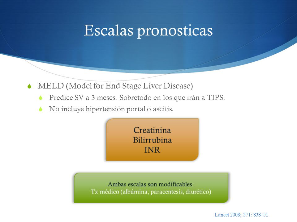 Escalas pronosticas MELD (Model for End Stage Liver Disease)