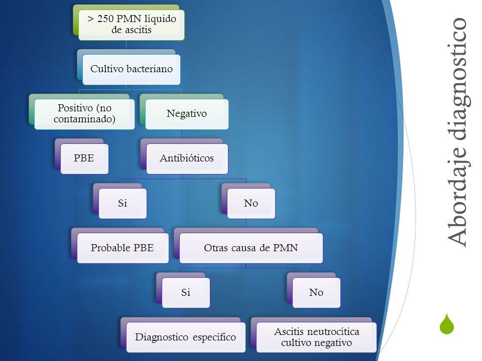 Abordaje diagnostico > 250 PMN líquido de ascitis
