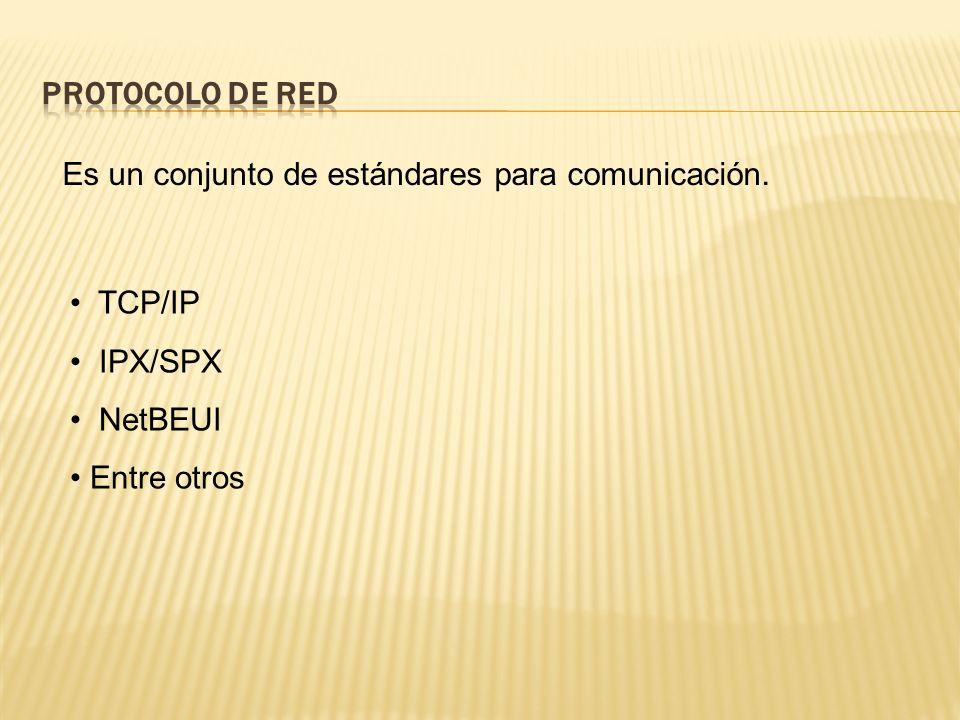 Protocolo de Red Es un conjunto de estándares para comunicación.