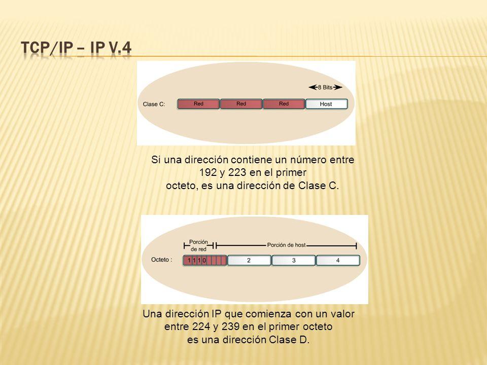 TCP/IP – IP V.4 Si una dirección contiene un número entre 192 y 223 en el primer. octeto, es una dirección de Clase C.