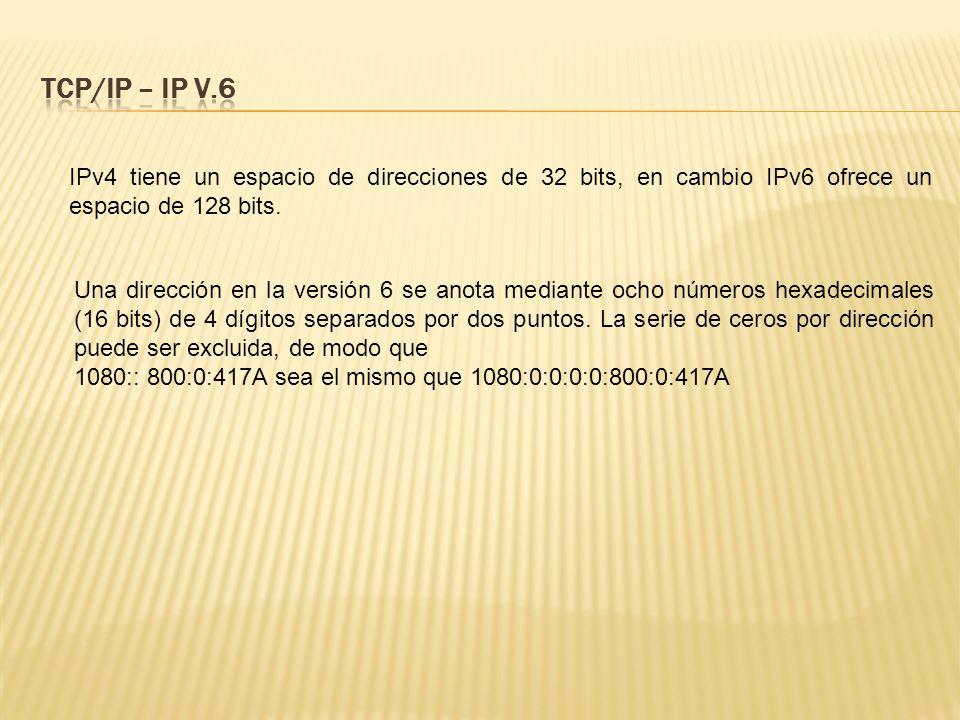 TCP/IP – IP V.6 IPv4 tiene un espacio de direcciones de 32 bits, en cambio IPv6 ofrece un espacio de 128 bits.