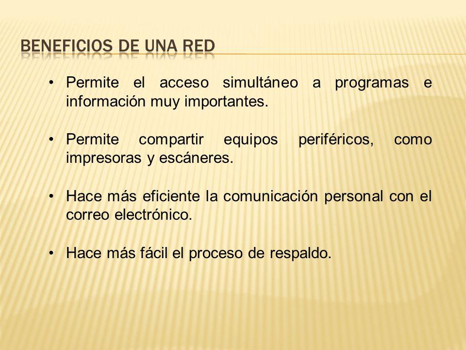 Beneficios de una red Permite el acceso simultáneo a programas e información muy importantes.