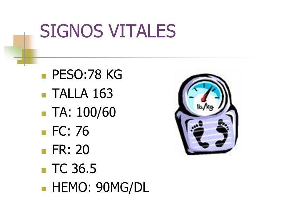 SIGNOS VITALES PESO:78 KG TALLA 163 TA: 100/60 FC: 76 FR: 20 TC 36.5