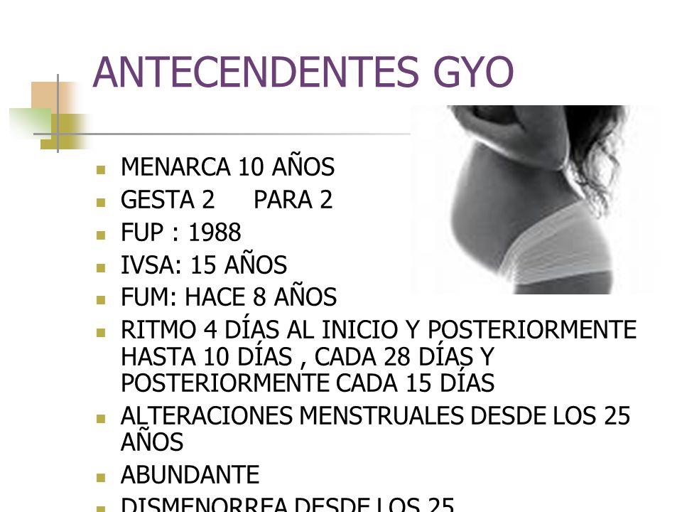 ANTECENDENTES GYO MENARCA 10 AÑOS GESTA 2 PARA 2 FUP : 1988