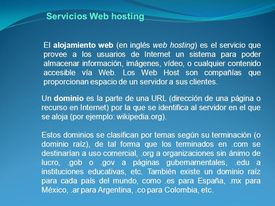 Servicios Web hosting