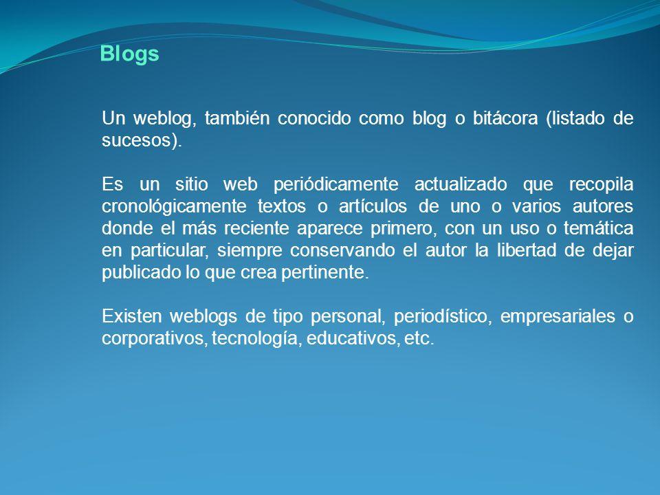 Blogs Un weblog, también conocido como blog o bitácora (listado de sucesos).