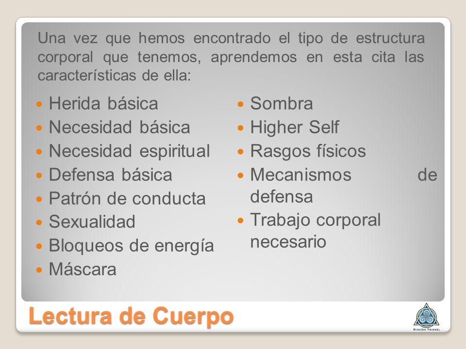 Lectura de Cuerpo Herida básica Sombra Necesidad básica Higher Self