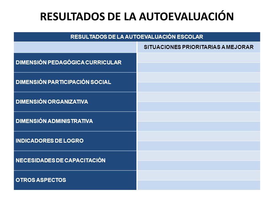 RESULTADOS DE LA AUTOEVALUACIÓN