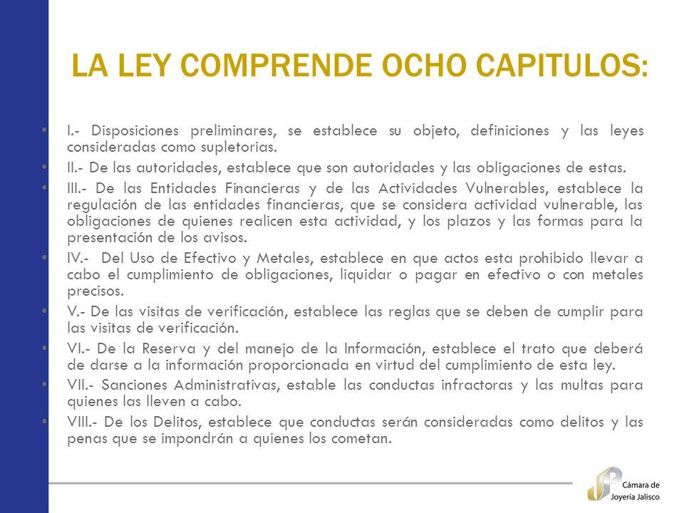 LA LEY COMPRENDE OCHO CAPITULOS: