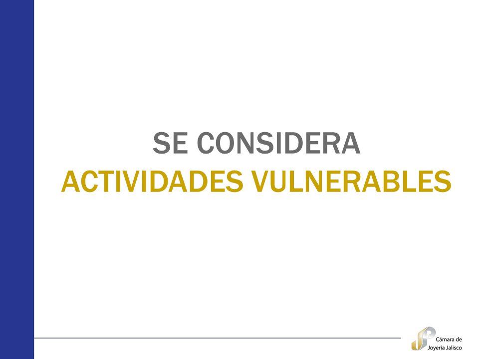 SE CONSIDERA ACTIVIDADES VULNERABLES