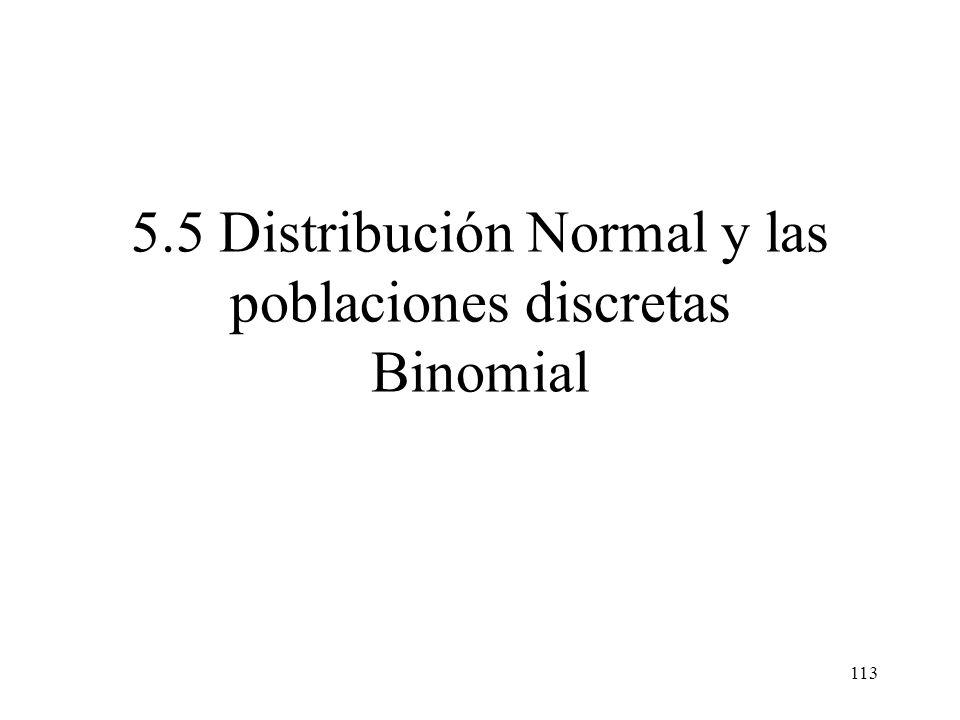 5.5 Distribución Normal y las poblaciones discretas Binomial