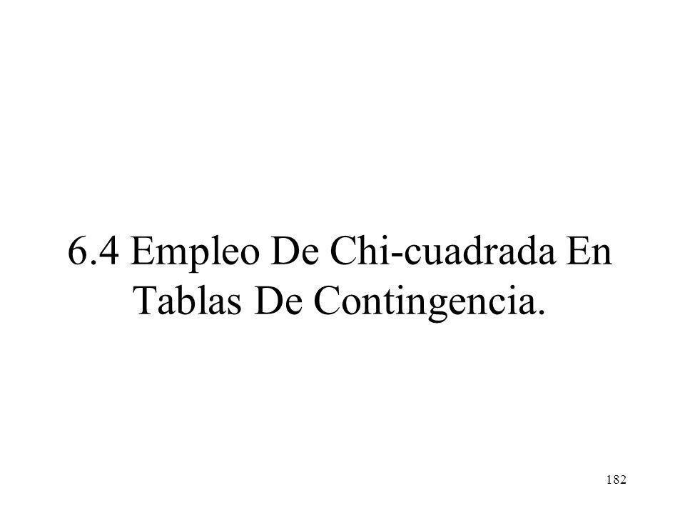 6.4 Empleo De Chi-cuadrada En Tablas De Contingencia.
