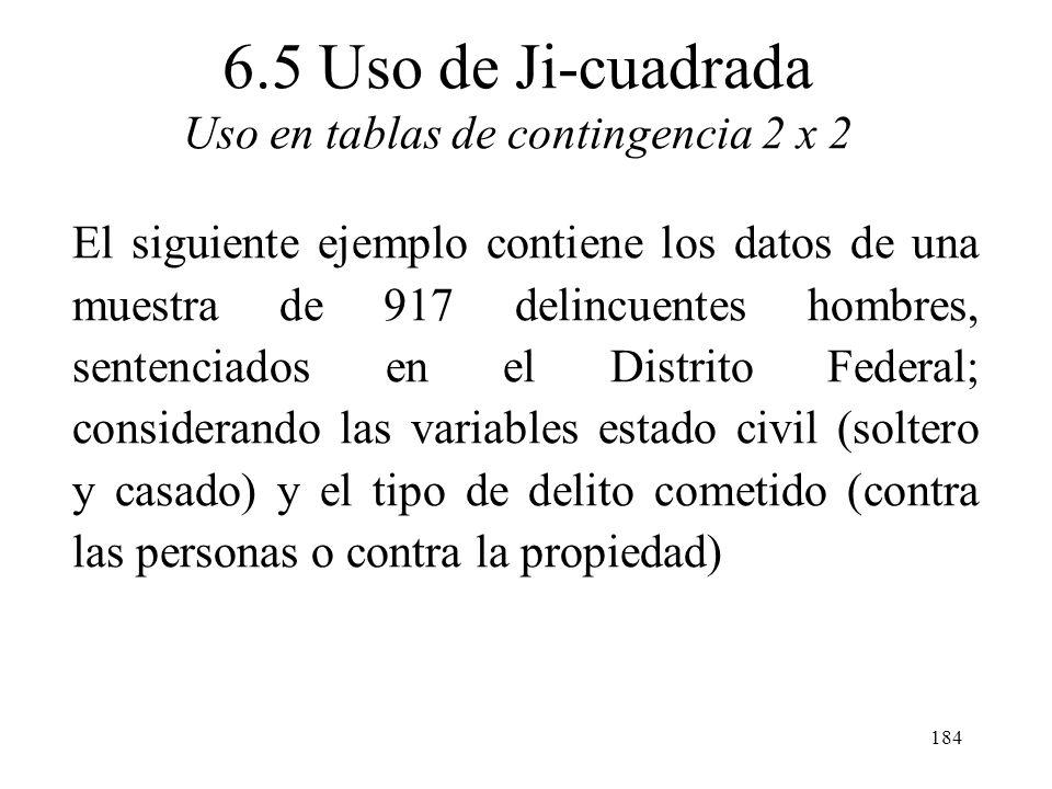 6.5 Uso de Ji-cuadrada Uso en tablas de contingencia 2 x 2