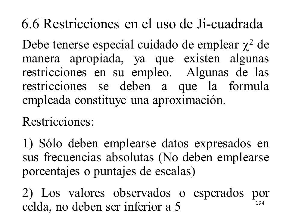 6.6 Restricciones en el uso de Ji-cuadrada