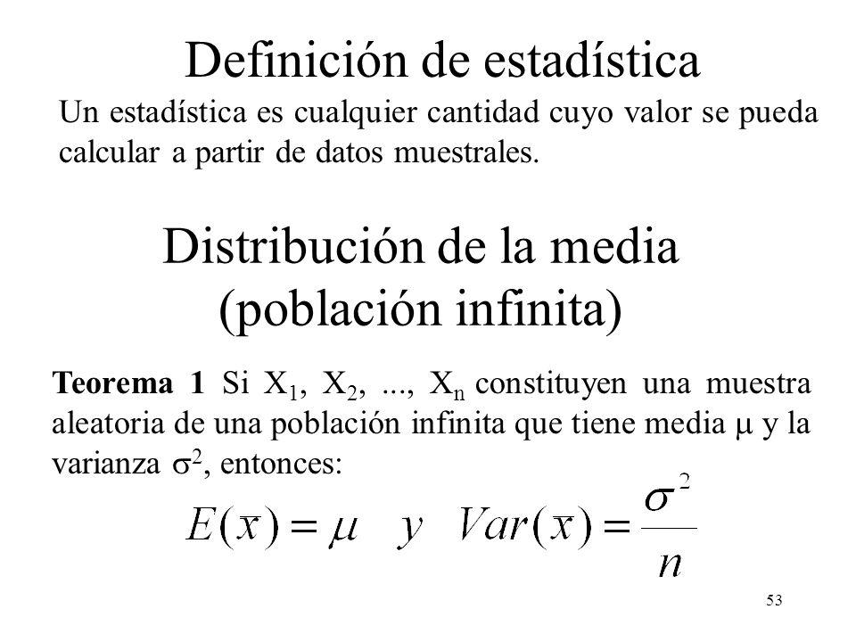 Distribución de la media (población infinita)
