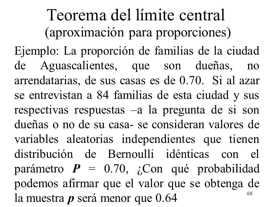 Teorema del límite central (aproximación para proporciones)