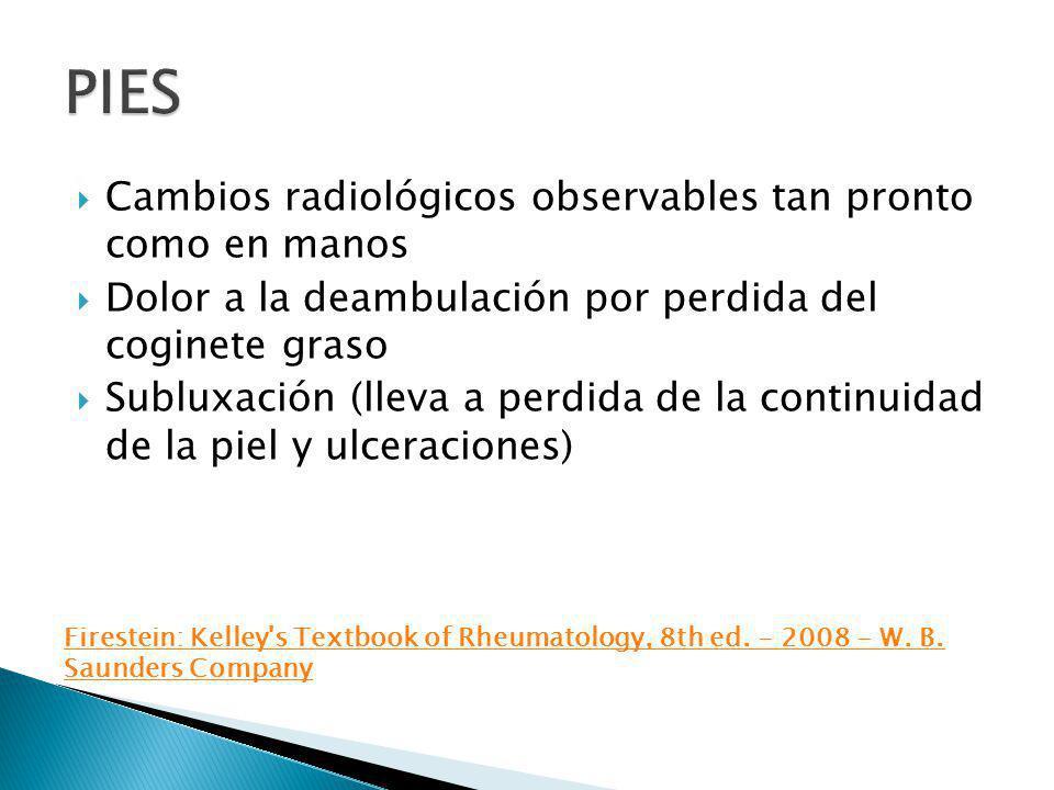 PIES Cambios radiológicos observables tan pronto como en manos