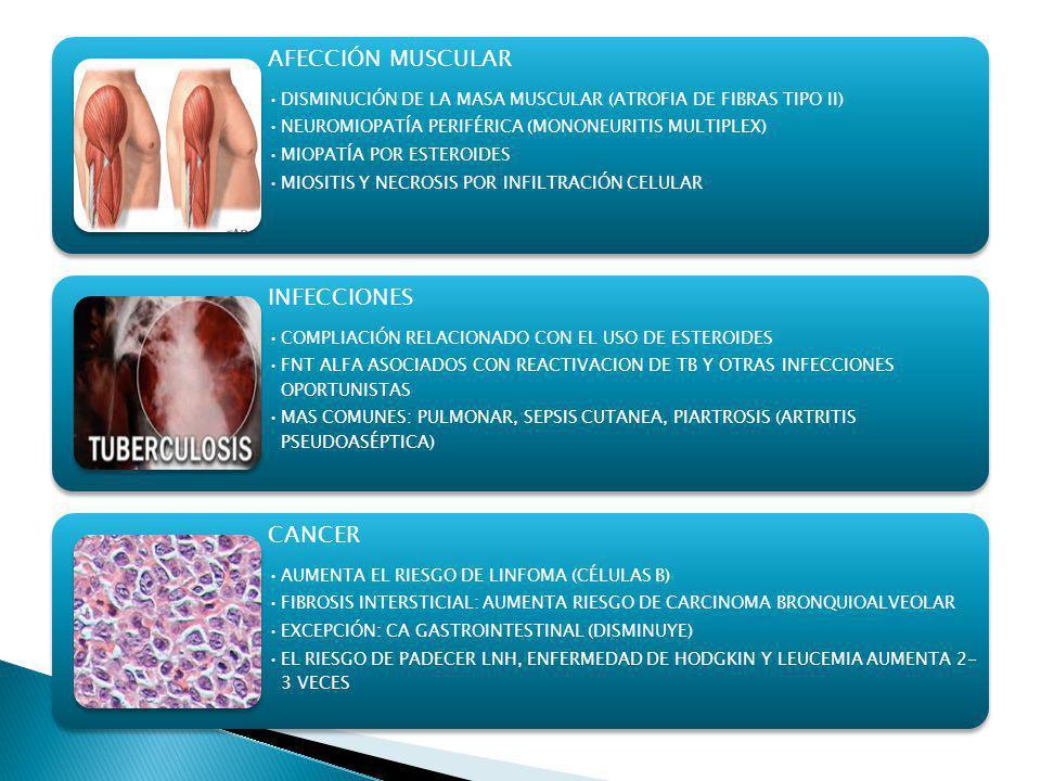 AFECCIÓN MUSCULAR DISMINUCIÓN DE LA MASA MUSCULAR (ATROFIA DE FIBRAS TIPO II) NEUROMIOPATÍA PERIFÉRICA (MONONEURITIS MULTIPLEX)