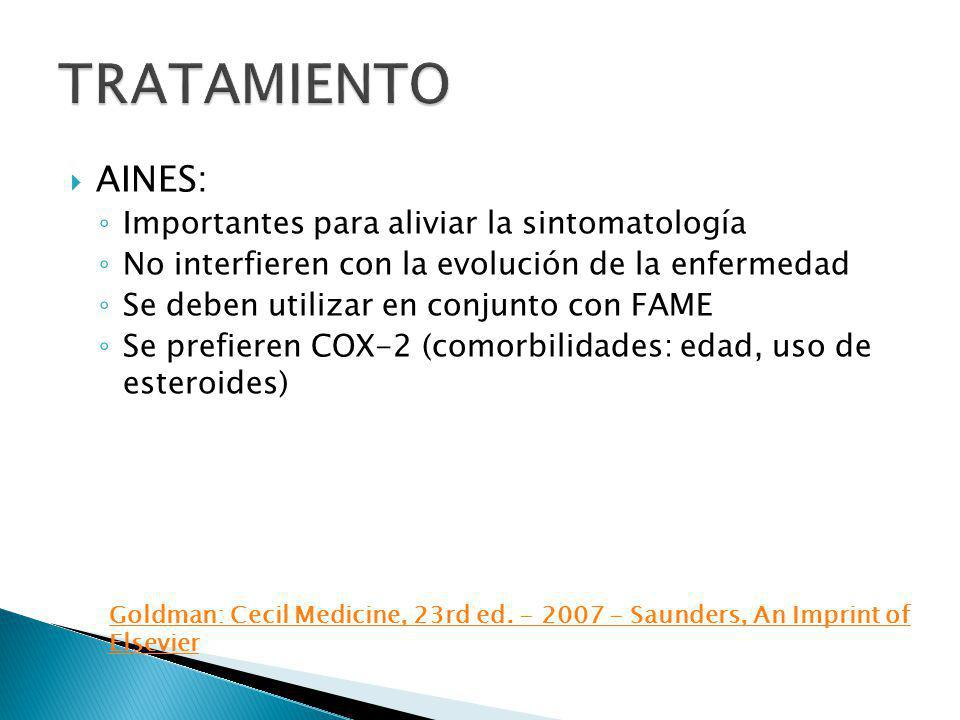 TRATAMIENTO AINES: Importantes para aliviar la sintomatología
