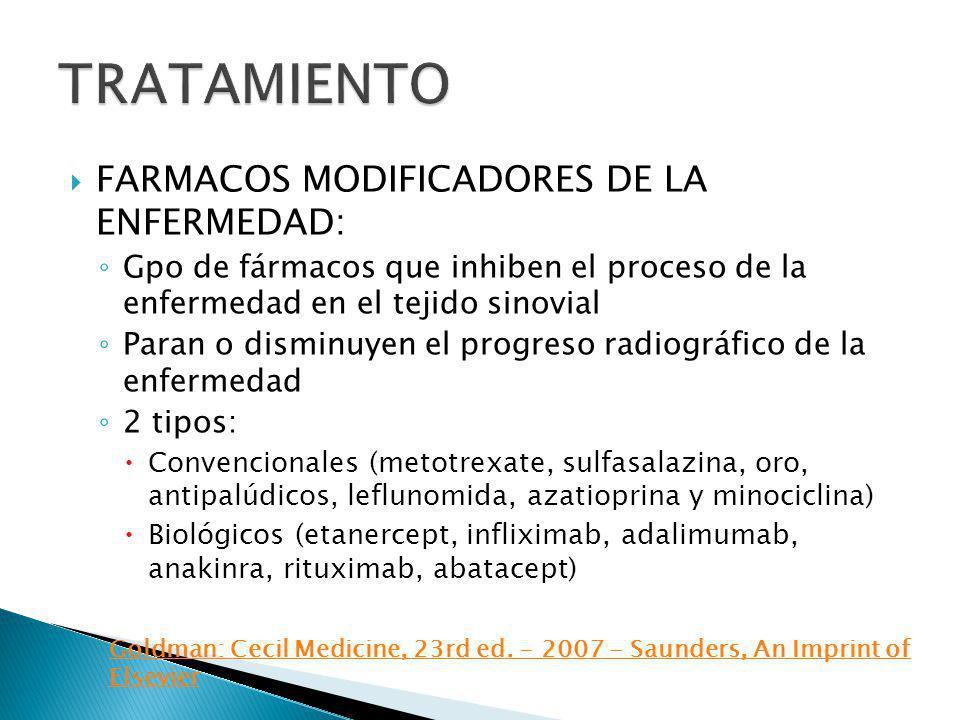 TRATAMIENTO FARMACOS MODIFICADORES DE LA ENFERMEDAD: