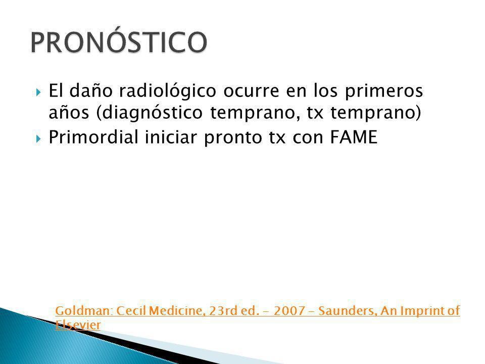 PRONÓSTICO El daño radiológico ocurre en los primeros años (diagnóstico temprano, tx temprano) Primordial iniciar pronto tx con FAME.