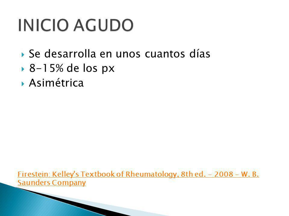 INICIO AGUDO Se desarrolla en unos cuantos días 8-15% de los px