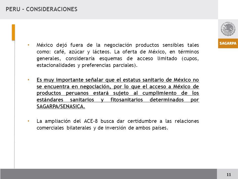 PERU - CONSIDERACIONES
