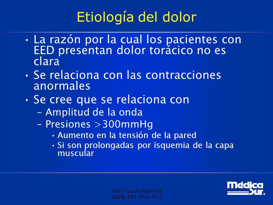 Etiología del dolor La razón por la cual los pacientes con EED presentan dolor torácico no es clara.